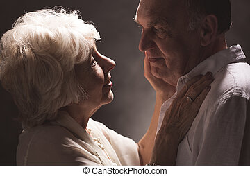 I love just as you are - Mature woman embracing her husband,...