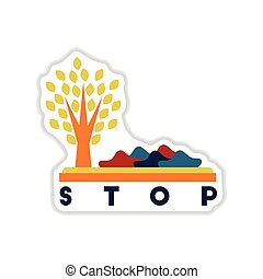 paper sticker on white background stop environmental...
