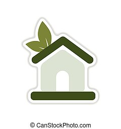 paper sticker on white background Eco house