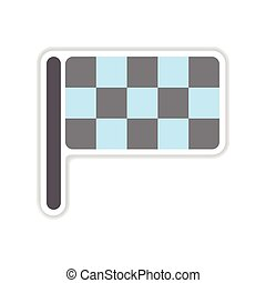 paper sticker on white background finish flag - paper...