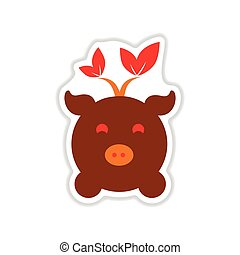 paper sticker on white background eco pig - paper sticker on...