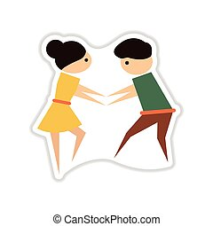 paper sticker on white background pair of dancers - paper...
