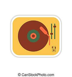 paper sticker on white background record player