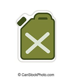 paper sticker on the white background jerrycan - paper...