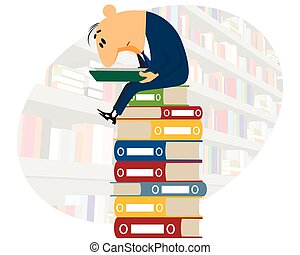 Clerk reading documents - Vector illustration of a clerk...