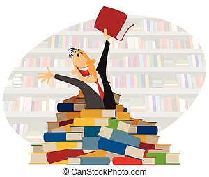 Digging in books - Vector illustration of a digging in books