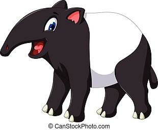 cute tapir cartoon posing - vector illustration of cute...