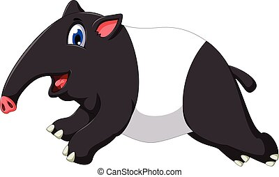 cute tapir cartoon running - vector illustration of cute...