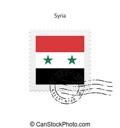Syria Flag Postage Stamp - Syria Flag Postage Stamp on white...