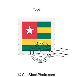 Togo Flag Postage Stamp - Togo Flag Postage Stamp on white...