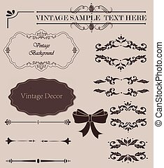 Wicker lines and old decor elements in vector. Vintage borders, frame and rosette in set. Vector page decoration. Decoration for logos, wedding album or restaurant menu.