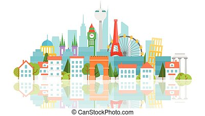 Dirrefent world famous sights Vacation travelling concept...