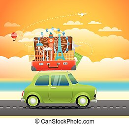 Vacation travelling composition with the open bag Touristic...