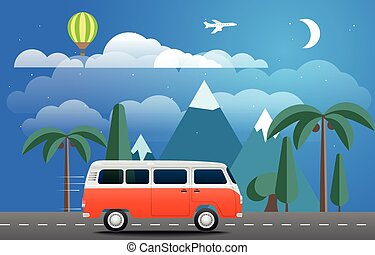 Take Vacation travelling concept. Flat design illustration...