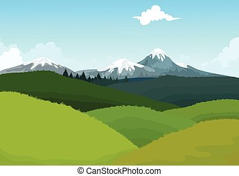 hilly mountain landscape background - vector illustration of...