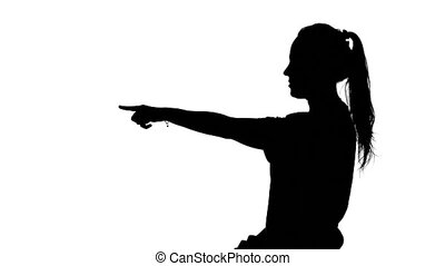 Photographer puts up models White Silhouette - Young girl...