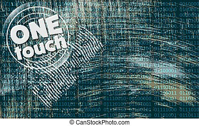 Vector abstract scratched background and the words one touch