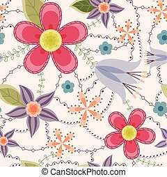 Flowers pattern vintage - Vector flowers pattern vintage
