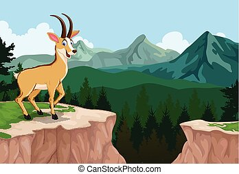 chamois cartoon in mountain cliff - vector illustration of...