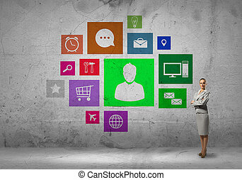 Interface presentation - Businesswoman and color application...