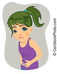 Little girl with severe stomach ache or nausea making sad face