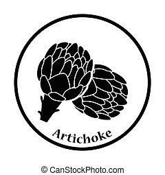Artichoke icon. Thin circle design. Vector illustration.
