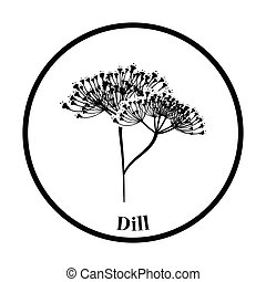 Dill icon Thin circle design Vector illustration