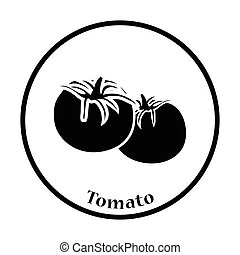 Tomatoes icon Thin circle design Vector illustration