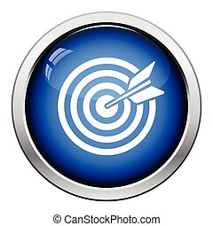 Target with dart in bulleye icon. Glossy button design....