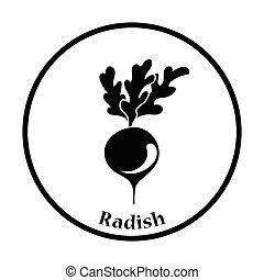Radishes icon Thin circle design Vector illustration