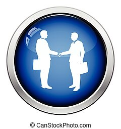 Meeting businessmen icon Glossy button design Vector...