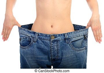 Weight loss concept. Beautiful woman belly over white.
