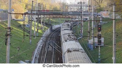 Fast train passing on railway station