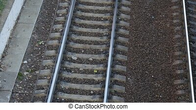 railroad with train track from above