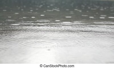 Wonderful footage with droplets of rain on the water