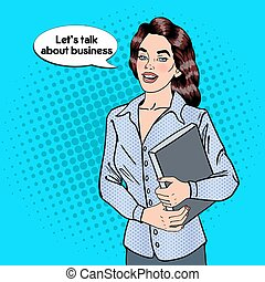 Confident Business Woman with Documents. Pop Art. Vector...