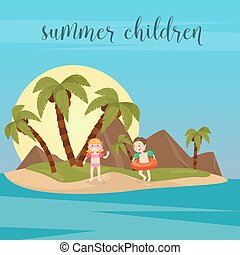 Children Sea Vacation. Girl and Boy Swimming on the Beach. Vector illustration