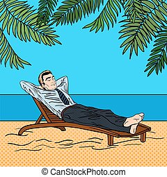 Businessman Relaxing on the Beach. Man on Tropical Vacation. Pop Art. Vector illustration