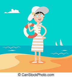 Woman Summer Beach. Happy Young Woman on the Sea. Vector illustration