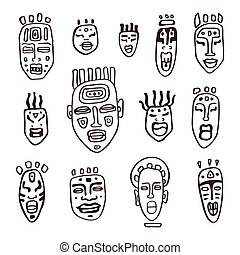 Set of African masks. Tribal masks on white background....