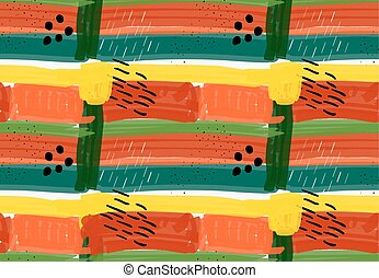 Abstract green red and yellow stripes and black marksHand...