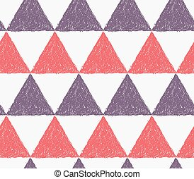 Pencil hatched red and purple triangles