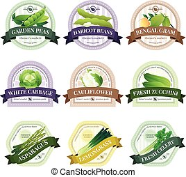 Vegetable and Herbs Flat Labels Set - Organically grown...