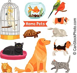 Home Pets Set - Big and small home pets set with dogs cats...
