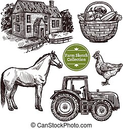 Farm Hand Drawn Sketch Set - Black and white farm hand drawn...
