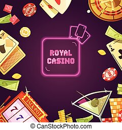 Royal Casino Retro Cartoon Illustration - Royal casino with...
