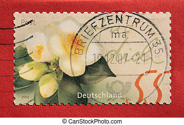 Postage stamp from Germany with red background
