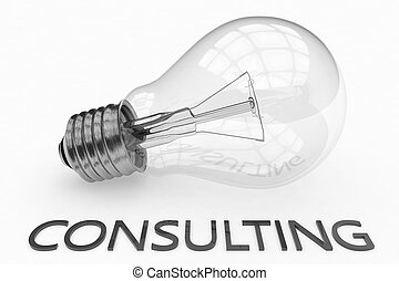 Consulting - lightbulb on white background with text under...