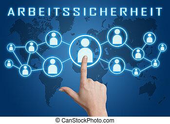 Arbeitssicherheit - german word for work safety concept with...