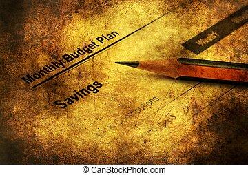 Savings plan grunge concept